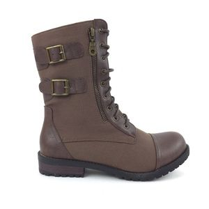 NEW Brown Canvas Laced Up Combat Boots